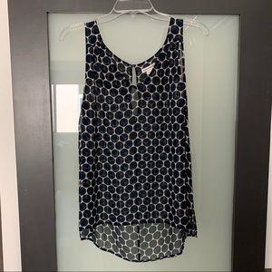 Club Monaco sheer v neck dot blouse